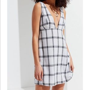 Urban Outfitters Plunging Linen Mini Dress